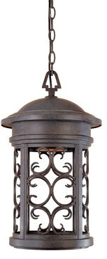 "Darby Home Co Cole 1 -Bulb 19"" H Outdoor Hanging Lantern Finish: Mediterranean Patina"