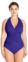 Bleu Rod Beattie Bleu | Rod Beattie Women's Plus Size Jet, Set, Go Halter One Piece Swimsuit