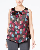 Nine West Plus Size Printed Pleat-Neck Top