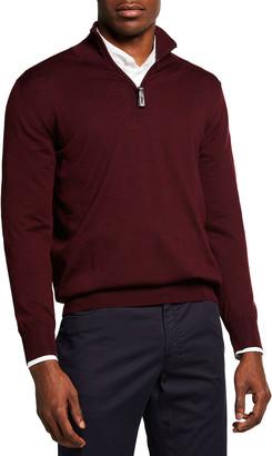 Brioni Men's Quarter-Zip Wool Sweater