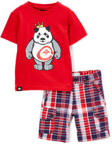Lrg Red King of Style Crewneck Tee & Plaid Shorts - Toddler & Boys
