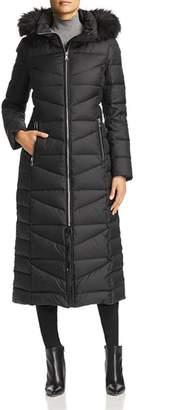 Calvin Klein Faux Fur Trim Maxi Puffer Coat