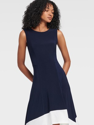 DKNY Women's Crewneck Handkerchief Hem Dress - Midnight - Size 14