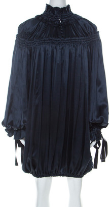 Dolce & Gabbana Navy Blue Satin Contrast Tie Detail Gathered Ruffled Trim Long Sleeve Dress S