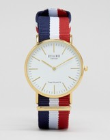 Reclaimed Vintage Stripe Canvas Watch With White Dial