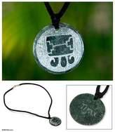 Unique Guatemalan Jade Pendant Necklace, 'Tijax Maya Warrior'