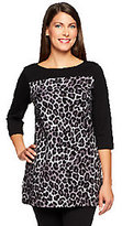 Denim & Co. As Is Knit 3/4 Sleeve Animal Print Tunic