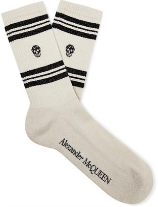 Alexander McQueen Logo-Intarsia Metallic Cotton-Blend Socks