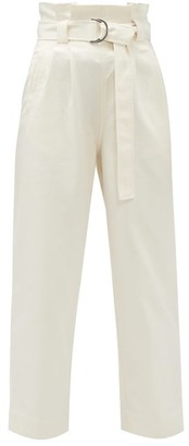 Ganni Belted Paperbag-waist Cotton-blend Twill Trousers - Cream