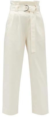 Ganni Belted Paperbag-waist Cotton-blend Twill Trousers - Womens - Cream