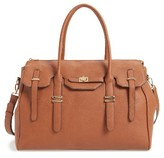 Sole Society Faux Leather Weekend Satchel - Brown
