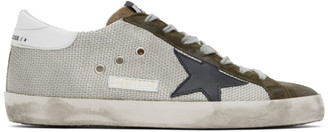 Golden Goose Silver and Khaki Superstar Sneakers