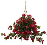 Bougainvillea Nearly Natural 6845-RD Hanging Basket UV Resistant, Red