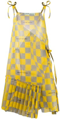 Off-White Checked Asymmetric Dress
