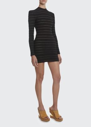 Balmain Tonal Logo Striped Mini Dress