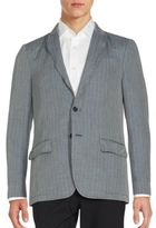 John Varvatos Striped Cotton and Linen Sportcoat