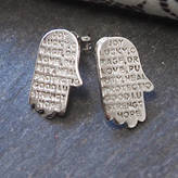 Anna Lou of London Engraved Inspirational Hamsa Hand Studded Earrings