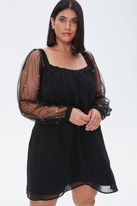 Forever 21 Plus Size Faux Pearl-Sleeve Mini Dress