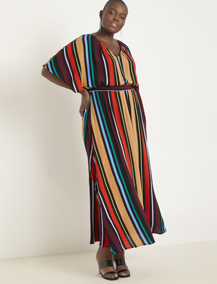 ELOQUII Printed V-Neck Maxi Dress
