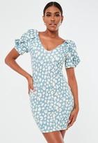 Missguided Blue Animal Print Puff Sleeve V Neck Mini Dress