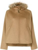 P.A.R.O.S.H. fur trim hooded jacket - women - Polyester/Wool/Marmot Fur - M
