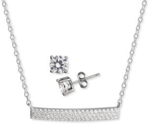 Giani Bernini 2-Pc. Set Cubic Zirconia Pave Bar Pendant Necklace & Solitaire Stud Earrings in Sterling Silver, Created for Macy's