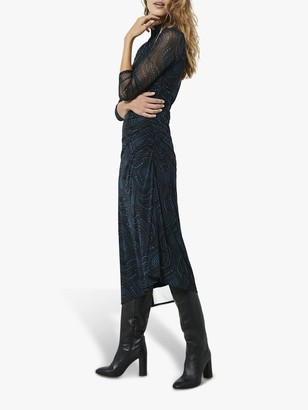 Mint Velvet Lyra Abstract Midi Dress, Black