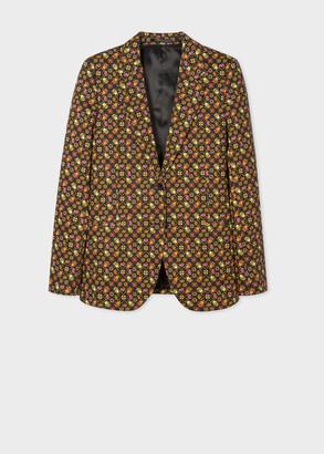 Paul Smith Women's Black 'Ditsy Beetle' Print Two-Button Stretch-Cotton Blazer
