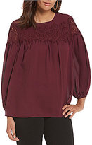 M.S.S.P. Lace Trim Round Neck Long Sleeve Solid Woven Blouse
