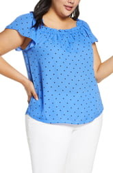 CeCe Tropic Dot Ruffle Blouse