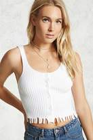 LOVE21 LOVE 21 Contemporary Frayed Ribbed Top