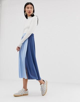 Asos Design DESIGN twist knot front midi skirt with color block pleat insert-Blue