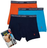 Polo Ralph Lauren Classic Cotton Knit Boxer Brief 3-Pack, S, Duck Blue Multi