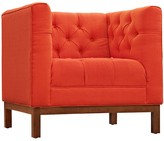 The Well Appointed House Red Chair with Tufted Buttons and Plush Cushions