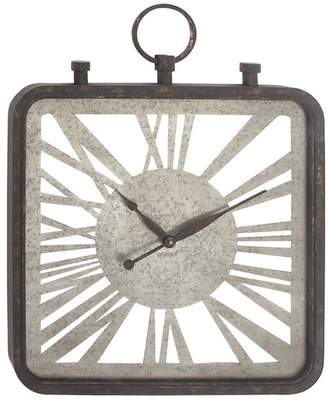 Brimfield & May Industrial Wood and Iron Finial Wall Clock
