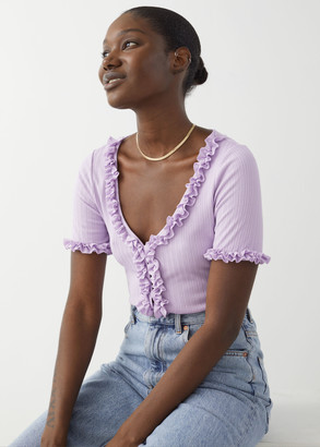And other stories Cropped Ruffle Cardigan