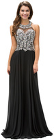 Dancing Queen - Vamp Jewel Embellished Halter Neck Chiffon A-line Dress 9233