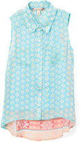 Speechless Turquoise & Pink Floral Arabesque Hi-Low Button-Up Tank - Girls