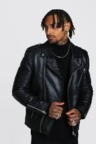 boohoo Mens Black Real Leather Biker Jacket With Zip Detail, Black