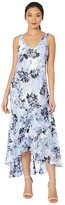 Alex Evenings Long Printed Burnout Chiffon High-Low Dress with Shawl (Black/Hydrangea) Women's Dress