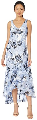 Alex Evenings Long Printed Burnout Chiffon High-Low Dress with Shawl (Black/Hydrangea) Women's Dress