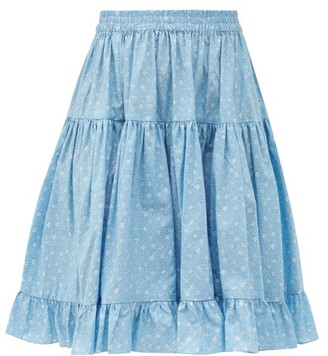 Batsheva Amy High-rise Floral-print Cotton Skirt - Blue