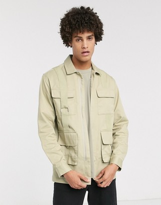 Asos regular shirt with utility pockets-Beige