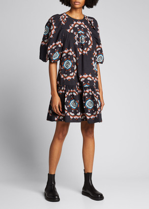 Sea Lindstrom Quilt Puff-Sleeve Dress