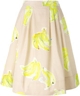 MSGM banana print midi skirt - women - Cotton - 38