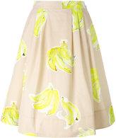 MSGM banana print midi skirt
