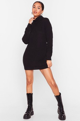 Nasty Gal Womens We're Rolling Petite Knit Mini Dress - Black - 6