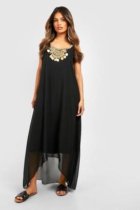 boohoo Beaded Necklace Dip Hem Maxi Dress