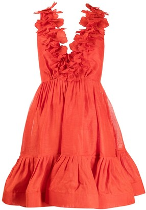 Zimmermann ruffle-detail V-neck silk dress