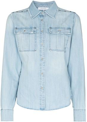 Frame Stud-Embellished Long-Sleeve Denim Shirt